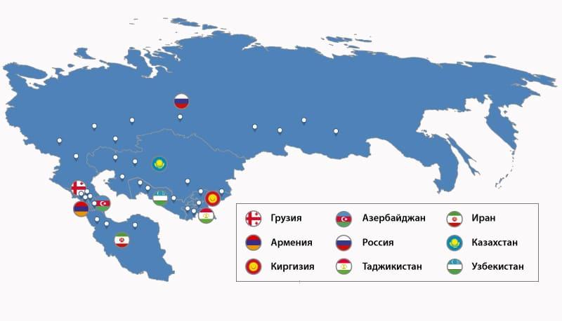 Карта расположения ГЭС стран Каспия и Центральной Азии